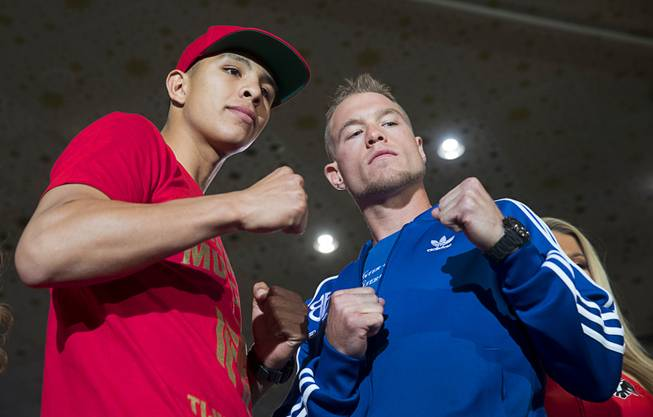 Undefeated WBO junior middleweight champion Jaime Munguia, left, of Mexico, poses with Brandon Cook of Canada at the MGM Grand Tuesday, Sept. 11, 2018. Munguia will defend his title against Cook at T-Mobile Arena in Las Vegas on Sept. 15.