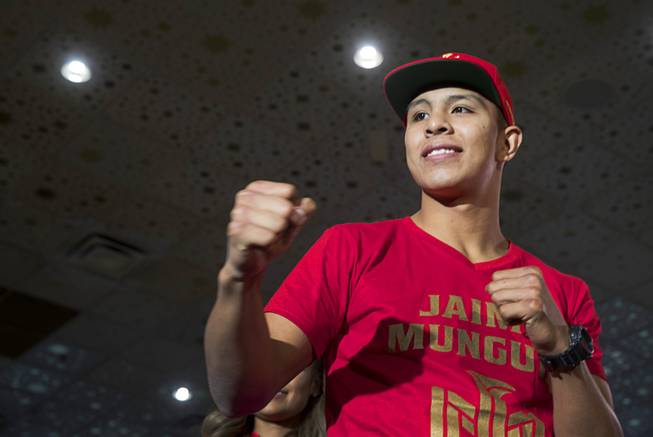 Undefeated WBO junior middleweight champion Jaime Munguia of Mexico poses in the lobby of the MGM Grand Tuesday, Sept. 11, 2018. Munguia will defend his title against Brandon Cook of Canada at T-Mobile Arena in Las Vegas on Sept. 15.