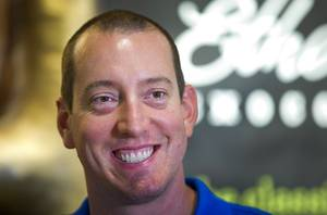 NASCAR driver Kyle Busch signs autographs and poses for photos at the Ethel M Chocolate Factory in Henderson Wednesday, Sept. 12, 2018. Busch will be racing in the NASCAR South Point 400 Monster Energy series at the Las Vegas Motor Speedway Sunday.