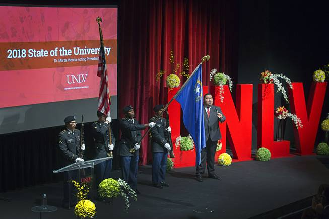Perry Chacar, a School of Music doctoral student, performs the national anthem  the annual State of the University address at UNLV Thursday, Sept. 13, 2018. A combined Air Force and Army ROTC honor guard presents the colors at left.