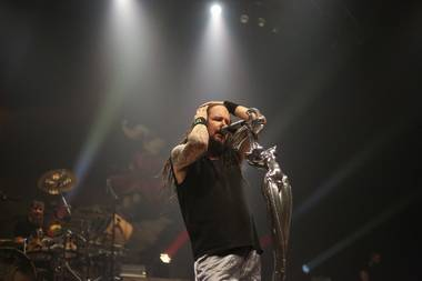 "KORN performs to a sold out crowd celebrating 20th anniversary of their seminal record ""Follow the Leader"" at The Pearl at the Palms, Saturday, Sept. 15, 2018."