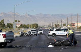 North Las Vegas Police investigate a fatal accident between a motorcyclist and a pickup truck at the intersection of Craig Road and North 5th Street in North Las Vegas Wednesday, Sept. 19, 2018. Eastbound Craig Road was closed during the investigation.