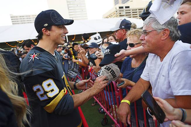 "Vegas Golden Knights goaltender Marc-Andre Fleury signs autographs during the Vegas Golden Knights ""Fan Fest"" Wednesday, September 19, 2018, at the Downtown Las Vegas Events Center."