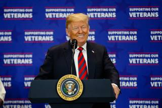 President Trump speaks about a VA funding bill at the VA Southern Nevada Healthcare System in North Las Vegas, Friday, Sep. 21, 2018.