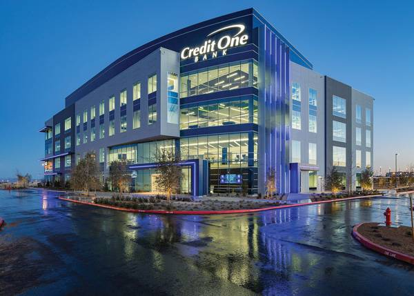 The Credit One Bank corporate headquarters incorporates blue LED exterior lights to enhance the building's appeal.