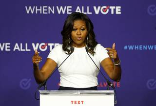 Former First Lady Michelle Obama speaks during a