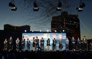 Streamers fly during a groundbreaking ceremony for the MSG Sphere at the Venetian by Koval Lane and Sands Avenue Thursday, Sept. 27, 2018. From left: Chris Giunchigliani, David Dibble, Jayne McGivern, Andy Lustgarten, Irving Azoff, Lauralyn McCarthy, Gov. Brian Sandoval, James Dolan, Charles Dolan, Sheldon Adelson, Miriam Adelson, Rob Goldstein, Patrick Dumont, George Markantonis, and Steve Sisolak.