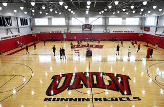 UNLV holds the first basketball practice of the 2018-19 season at Mendenhall Center Friday, Sept. 28, 2018.