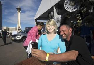 Creig Heitz takes a selfie with a cardboard cutout of Martha Stewart during the Martha Stewart Wine & Food Experience at the Las Vegas Festival Grounds Saturday, Oct. 13, 2018. The event, presented by the USA Today network, is part of a 12-city tour.