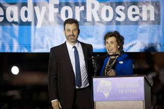 Las Vegas native Jimmy Kimmel, late-night talk show host, campaigns with Jacky Rosen, Democratic candidate for Nevada Senate, during a rally at the Arts District in downtown Las Vegas Friday, Nov. 2, 2018.