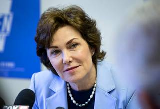 Senator-elect Jacky Rosen, D-Nev., listens to a question during a news conference at the Nevada State Democratic Party headquarters in Las Vegas Friday, Nov. 9, 2018.