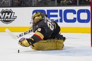 Marc-Andre Fleury makes a save in the first period of the Golden Knights' game against Anaheim at T-Mobile Arena, Wed. Nov. 14, 2018.