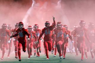 Arbor View players take to the field for the Mountain Region high school football championship game against Faith Lutheran at Arbor View Friday, Nov. 16, 2018. Arbor View won the game 28-7.