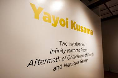 "Yayoi Kusama's infinity room ""Aftermath of Obliteration of Eternity"" and ""Narcissus Garden"" are on view at the Bellagio Gallery of Fine Art, Friday, Nov. 16, 2018."