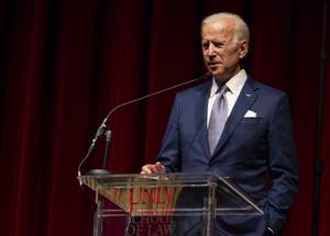 Former Vice President Joe Biden speaks during his keynote address at the UNLV William S. Boyd School of Law 20th Anniversary Gala at the Bellagio Saturday, Dec. 1, 2018. The annual event serves as the school's principal scholarship fundraiser.