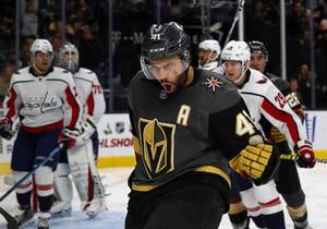 Vegas Golden Knights center Pierre-Edouard Bellemare (41) celebrates after his goal in the third period against the Washington Capitals at T-Mobile Arena Tuesday, Dec. 4, 2018.