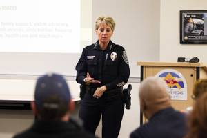 North Las Vegas Police Department Chief Pamela Ojeda answers an attendee's question during a community safety and awareness forum at the North Las Vegas City Hall, Tuesday, Dec. 4, 2018.