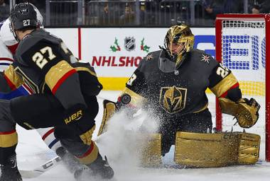 Vegas Golden Knights goaltender Marc-Andre Fleury (29) makes a save during a game against the Montreal Canadiens at T-Mobile Arena Saturday, Dec. 22, 2018.