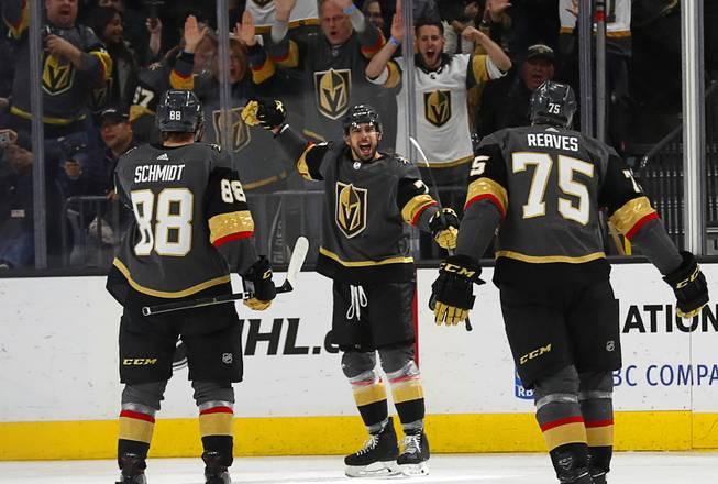 0101VGKKings1. Steve Marcus. Vegas Golden Knights center Brandon Pirri (73) celebrates  after scoring in the third period ... 45bc8536f