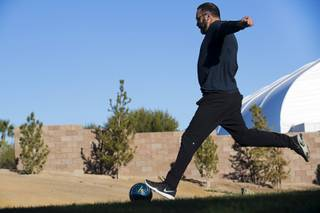 Bill Rafih of Calgary, Alberta, Canada tees off during a game of FootGolf at Chimera Golf Club in Henderson Friday, Jan. 4, 2019. FootGolf combines soccer and golf and is played with soccer balls with 21-inch diameter cups.