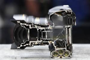 A Nikon D5 camera is displayed cut in half during ...