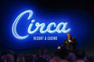 Derek Stevens addresses an audience after unveiling the design and name for his new casino called Circa at the Downtown Las Vegas Events Center Thursday, Jan. 10, 2019. Circa is expected to open December 2020.