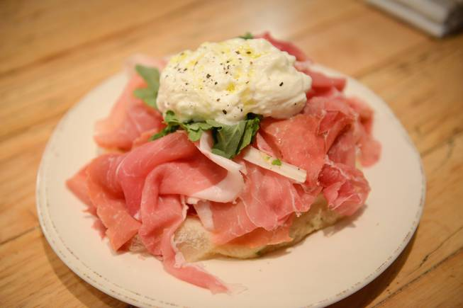 Prosciutto with burrata and fried sage dough.