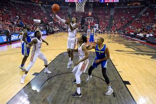 UNLV Rebels guard Kris Clyburn (1) pulls down a defensive rebound against the San Jose State Spartans during their Mountain West Conference basketball game Saturday, January 19, 2019, at the Thomas & Mack Center in Las Vegas. UNLV won the game 94-56.