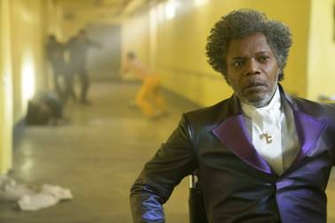 "This image released by Universal Pictures shows Samuel L. Jackson in a scene from M. Night Shyamalan's ""Glass."""