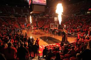 Flames lights up the Thomas & Mack Center prior to the start of a UNLV vs UNR game Tuesday, Jan. 29, 2019.