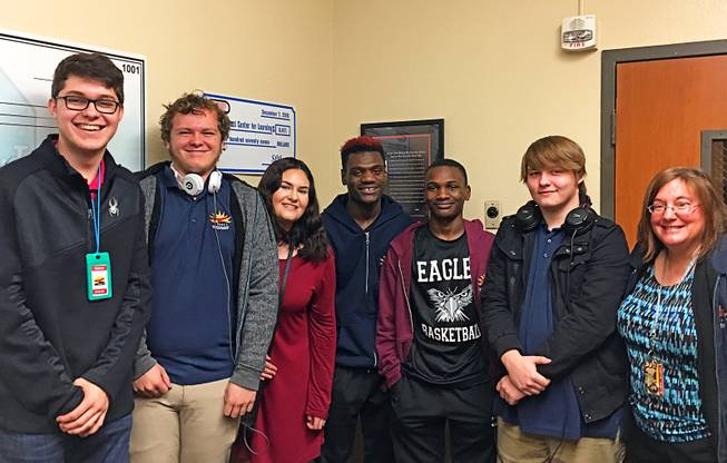 From left to right: Former and current students of New Horizons Academy Center for Learning are shown on campus with Principal Barbara Bidell, far right, Jan. 31, 2019. They are, from left, James Swanson, 20, Jesse Kern, 17, Kiki Bull, 18, Kyree Carter, 17, Kanye Carter, 15, and Brendan Bidell, 16.