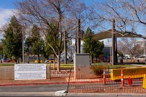 A construction fence surrounds Huntridge Circle Park Wednesday, Feb. 6, ...