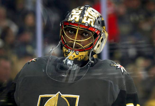 Vegas Golden Knights goaltender Malcolm Subban (30) skates during a break in the second period against the Nashville Predators at T-Mobile Arena Saturday, Jan. 16, 2019.