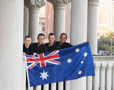 The Australian quartet marks 10 years starring on the Strip and three decades performing together this year.