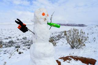 A snowman is seen at the Red Rock Canyon National Conservation Area overlook Thursday, February 21, 2019.
