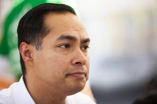 Presidential candidate and former San Antonio Mayor Julian Castro meets with members of the Dream Big Nevada immigration activist organization over lunch at Gorditas El Lagunero in North Las Vegas Thursday, Feb. 28, 2019.