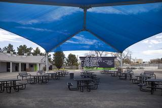 A covered area is shown at Mission High School, poses at the school Wednesday, Feb. 27, 2019. Mission High School is the only school in the Clark County School District dedicated to taking in youth with substance abuse problems.
