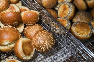 Sesame and poppy seed rolls are displayed in the retail store at Great Buns Bakery, 3270 E. Tropicana Ave., Thursday, March 14, 2019. The family-owned bakery has been operating in Las Vegas since 1982.