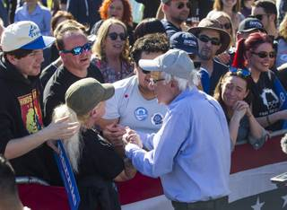 Democratic presidential candidate and U.S. Sen. Bernie Sanders meets with attendees during a rally in Henderson, Nev. on Saturday, March 16, 2019. Miranda Alam/Special to the Sun