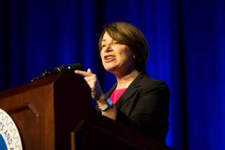 Minnesota Senator, and presidential hopeful, Amy Klobuchar speaks to union members at an International Association  of Machinists and Aerospace Workers conference at Paris Resort and Casino in Las Vegas, Monday April 8, 2019.