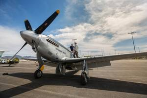 A look at the TF-51D Mustang, on display at the ...