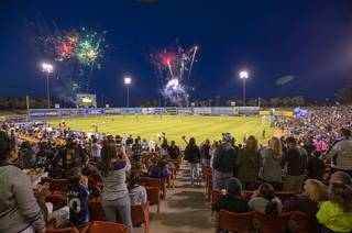 Fireworks explode at the start of a game between the Las Vegas Lights FC and the Tacoma Defiance at Cashman Field Saturday, April 13, 2019. The Lights shut out the Defiance 5-0.