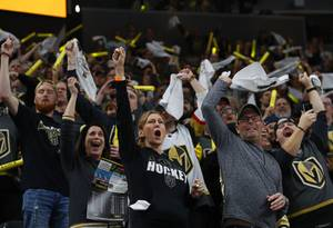 Vegas Golden Knights fans celebrate the Golden Knight's 6-3 victory over the San Jose Sharks in Game 3 of an NHL hockey first-round playoff series at T-Mobile Arena Sunday, April 14, 2019.