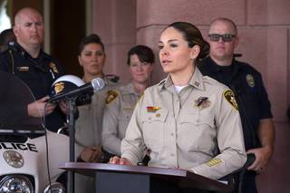 Metro Police Capt. Sasha Larkin speaks during a Clark County School District news conference on school safety at CCSD administrative offices on West Sahara Avenue Wednesday, May 15, 2019.