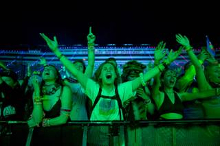 Fans scream during Deadmau5's set on night one of the Electric Daisy Carnival Friday, May 17, 2019.
