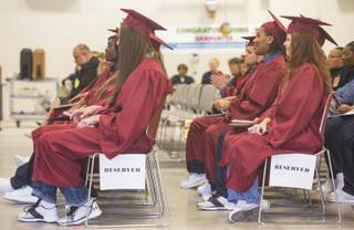 Inmates participate in a graduation ceremony at the Florence McClure Women's Correctional Center in North Las Vegas on Monday, May 20, 2019. Miranda Alam/Special to the