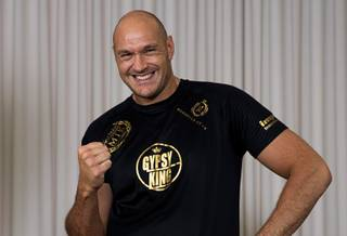 Undefeated heavyweight boxer Tyson Fury of England poses at Top Rank offices Wednesday, May 29, 2019. Fury will take on undefeated German heavyweight Tom Schwarz at the MGM Grand Garden on Saturday, June 15.
