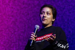 Parkland shooting survivor and activist Emma Gonzalez  speaks during the Emerge Festival at the Hard Rock Hotel Friday, May 31, 2019.