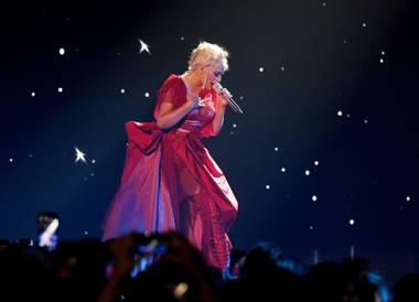 "Christina Aguilera performs during ""The Xperience"" at Zappos Theater."