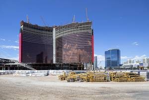 Construction continues on Resorts World Las Vegas, on the former Stardust site, Wednesday, June 5, 2019. The resort is expected to open in late-2020 with 3,400 rooms.